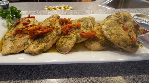Baked Chicken w/Basil Pesto & Sundried Tomatoes